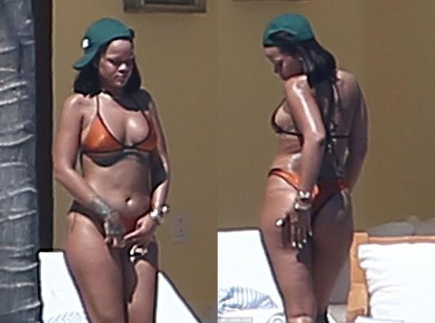 Barbadoslu seksi şarkıcı Rihanna, Meksika tatilinde